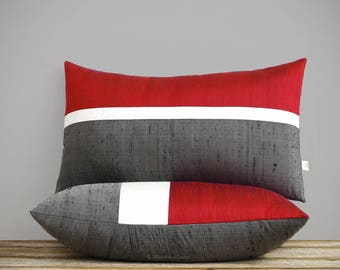 Red Silk Horizon Line Pillow Cover with Cream and Charcoal Gray Stripes by JillianReneDecor, Luxury Gift for Her, Holiday Pillow 12x20