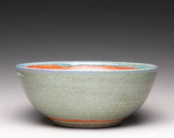 RESERVED handmade pottery bowl, serving bowl, ceramic bowl with green wood ash glaze and orange shino