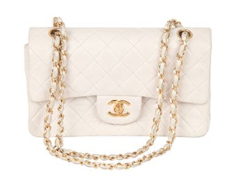 CHANEL Vintage 90s White QUILTED Leather Double Flap Bag Small