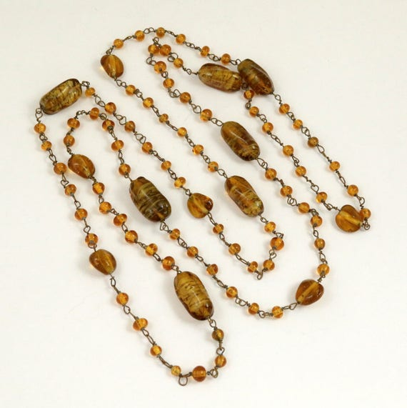 Art Deco Venetian Murano Amber Glass Bead Flapper Necklace