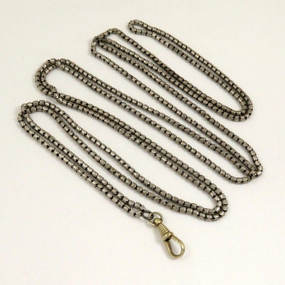 Antique Muff Chain, Edwardian Guard Chain, Silver Tone Metal, 62.5 inches long