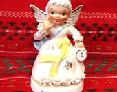 Vintage Napco January Birthday Angel Girl/ New Years Figurine with Clock and Spaghetti Trim/ No. A1361
