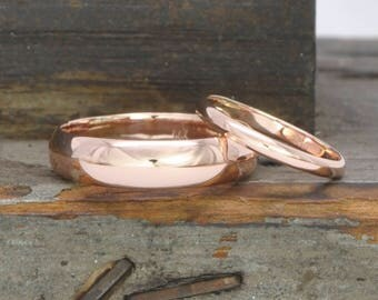14K Rose Gold 2x1mm and 5x1.5mm Half Round Wedding Band Set, Classic Rings, Sea Babe Jewelry