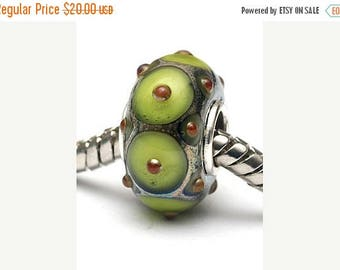 ON SALE 35% OFF Glass Lampwork Beads  - Large Hole Pear Green w/Metal Dots Rondelle Bead - Sc10101