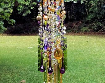 Antique Crystal Wind Chime, Gypsy Summer Wind Chime, Bohemian Crystal Wind Chime, Purple Crystal Wind Chime, Garden Art, Crystal Art, Boho