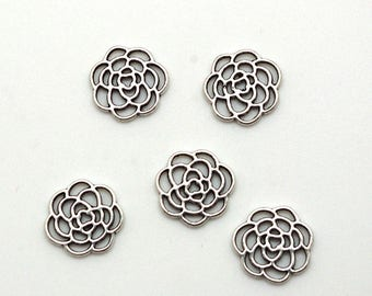 5 flower charms antiqued silver 16mm