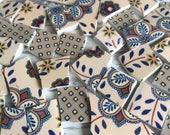 Mosaic Tiles Black Tan Denim Quatrafoil Floral 80 Pieces Hand Cut Broken China