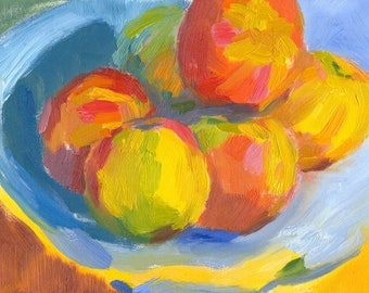 still life oil painting fruit Colourful Apples 6x8 on canvas