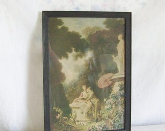 "On Sale Vintage romantic print colonial couple print  Fragonard  print ""Love Letters"" print framed print shabby cottage modern farmhouse dec"