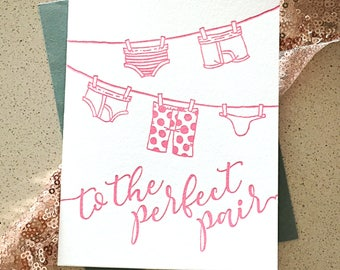 To The Perfect Pair Funny Wedding or Engagement Congratulations letterpress card