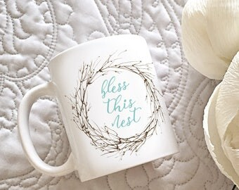 Bless This Nest Watercolor Mug