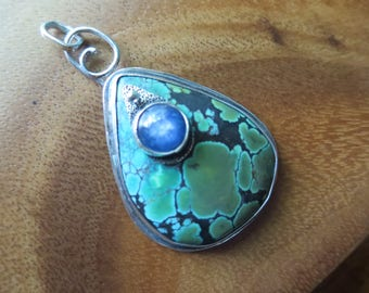 Sterling Silver Brutalist  Turquoise and Kyanite  pendant