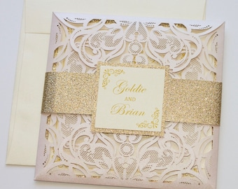 Laser Cut Wedding Invitation | Elegant Wedding Invite | Lace Wedding Invitation | Blush Pink & Gold Glitter | Flourish | GOLDIE Sample
