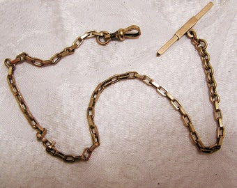Vintage Antique Rose Gold Colored Watch Chain. Rectangular Links, T Bar, and Fob. The 13 1/2 Inch Chain and is Ready to Use or Repurpose D15