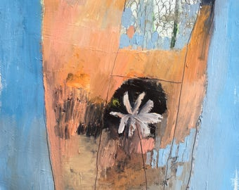 Baby blue and orange terrarium, original oil painting on arches paper