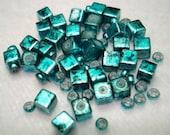 Shiny Blue Black Square Glass 4mm Beads (Qty 32) - B3348
