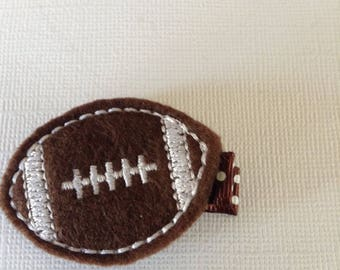 Embroidered Brown Felt Football Hair Clip, Girls Hair Bows, Toddlers Hair Clips, Football, Fall, Brown Football, Hair Bows ( Item 16-530)