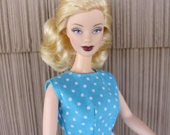 Handmade Basic Barbie Doll Clothes Blue Polka Dot Summer Blouse and Skirt and Denim Shorts