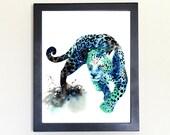 Jaguar Galaxy Spirit Totem Animal Art Print Watercolor 8x10