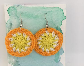 Crochet round circle orange white and yellow earrings bridesmaid valentines day Mother's Day gift for her