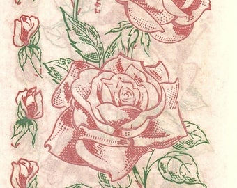 1950s Vogart Textilprints 42 UNCUT Vintage Iron On Color Transfer Pattern Roses