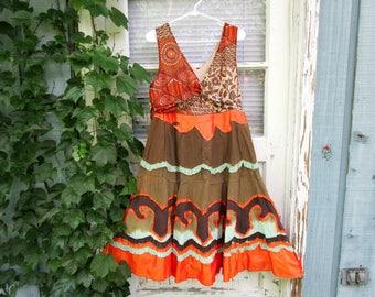 OOAK Upcycled Orange Multi Colored Day Dress// Medium Large// emmevielle