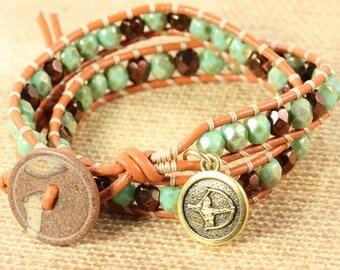 Sagittarius Bracelet, November Birthday, Zodiac Jewelry, Green Wrap Bracelet, Horoscope Jewelry, Astrological Signs, Sagittarius Charm