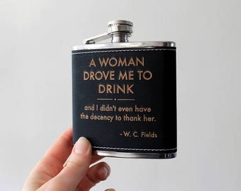 Flask | W.C. Fields Woman quote flask