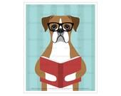 466D Animal Artwork - Brown Boxer Dog Reading Book Wall Art - Boxer Dog Gifts - Dog Nursery Decor - Children Wall Decor - Book Art Prints