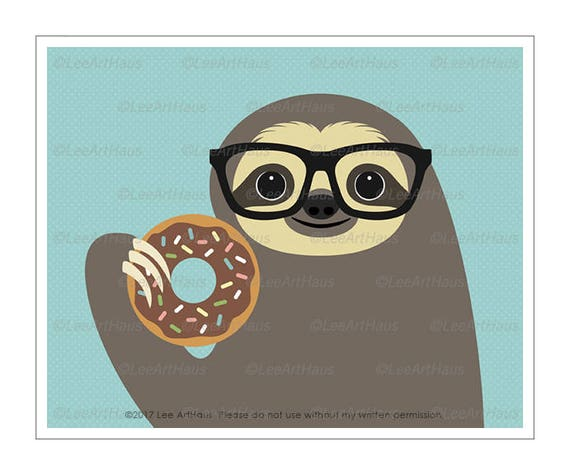 56J Animal Drawings - Sloth Eating Chocolate Donut Wall Art - Eyeglasses Print - Art for Kids Room - Sloth Lover Gifts - Doughnut Prints