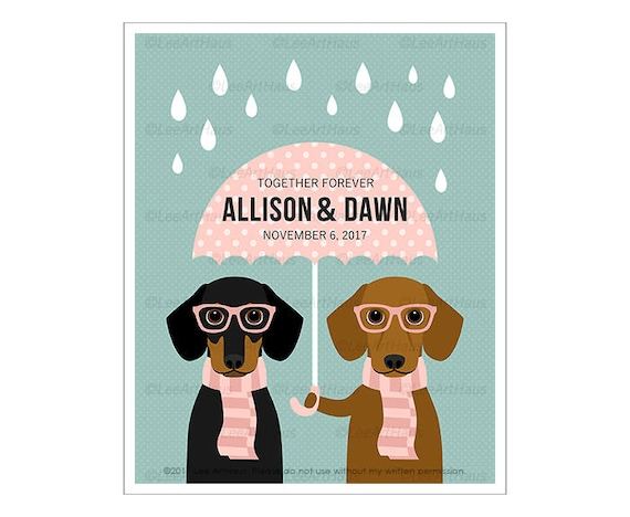 227P Personalized Dog Print - Together Forever Dachshund Wall Art - Mrs and Mrs Gift - Girlfriend Gift - BFF Gift - Dachshund Print