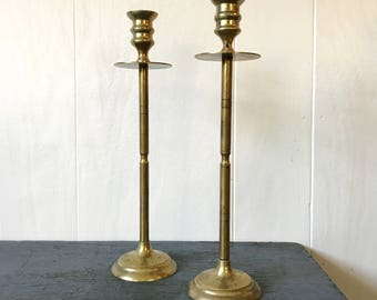 brass candle holders - gold metal candle sticks - midcentury boho lighting