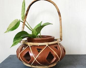 terra cotta planter - bamboo wrapped pot - hanging planter - southwest boho brown