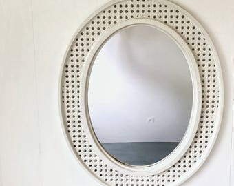 large oval wall mirror - faux white wicker - boho cottage shabby style
