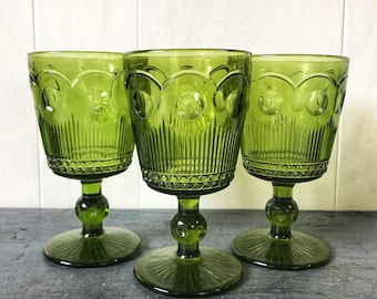 vintage green glasses - wine goblets - avocado jewel tone barware - holiday table - Set of 3
