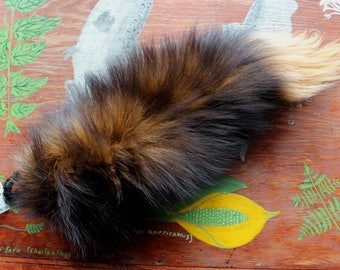 Fox tail - real eco-friendly yellow dyed fox fur totem dance tail on braided belt loop for shamanic ritual and dance DF05