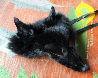 Real eco-friendly black-dyed wild coyote fur mask - shaped and glasses friendly - for ritual, dance, costume and more