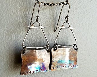 Bohemian Relic Earrings, Rustic, Brass, Sterling Silver, Egyptian Jewelry, Metalwork, Flame Patina, Oxidized, Boho, Unique Earrings