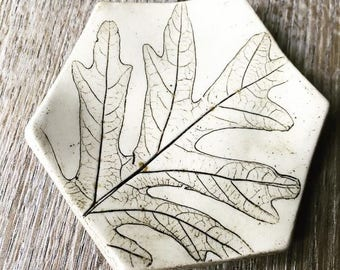 Dish - small stoneware pottery hexagon with leaf impression