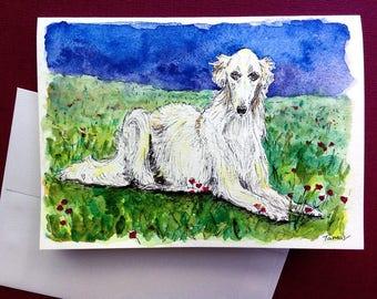 Borzoi - Hand Painted Card, Original Watercolor, Borzoi Painting, White Borzoi Art, Dog Art, Man's Best Friend, Hound Dogs, Sighthound