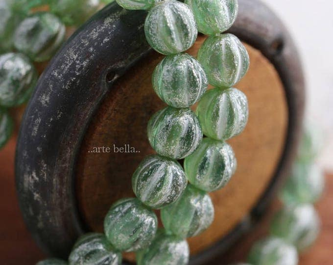 SILVERED APPLE MELONS No. 2 .. New 25 Picasso Czech Glass Melon Beads 6mm (6014-st)