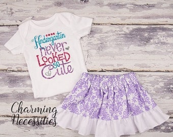 SALE Back To School Outfit, Toddler Girl Clothes, Glitter Top Twirl Skirt, Kindergarten Never Looked So Cute Lavender Damask Charming Necess