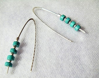 Arizona Turquoise sterling silver Dangle earrings - Hand shaped ear wire- Long leaf shape- Elegant Modern earrings
