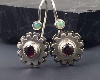 Garnet and Opal Dangle Earrings