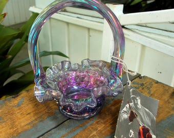 Fenton Amethyst Hobnail Opalescent Basket Attached Handle Maker Mark Tag / Antique Glass Fenton Basket