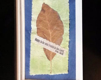 Real  Leaf Small Framed Quilted Art | Happy Is He Who Trusts In The Lord - Proverbs 16:23