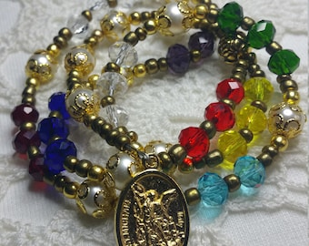 Gold Tone, Saint Michael Chaplet, Angelic Crown, 9 Choirs of angels, St Michael Medal, Guardian Angel Medal