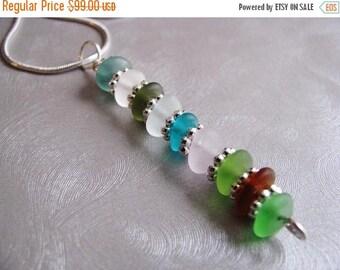 SEA GLASS SALE Assorted Colors - Sea Glass Pendant - Stacked Beach Glass Pendant - Beach Glass Jewelry -Sea Glass Jewelry