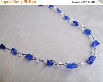 SEA GLASS SALE Cobalt Blue Whimsical Sea Glass Necklace - Eco Friendly Beach Glass Necklace