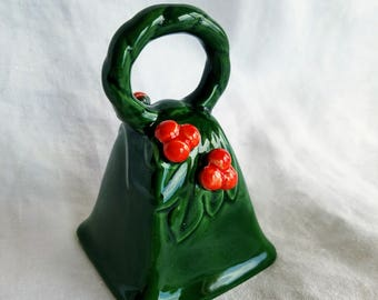 Vintage Lefton Christmas Bell, Labeled, Green with Embossed Holly